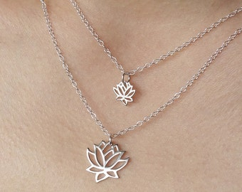 Lotus Layering Necklace Double Lotus / Silver and Gold / Mother Baby Necklace Peace Beauty Yoga Flower Zen Healing Lotus Gift