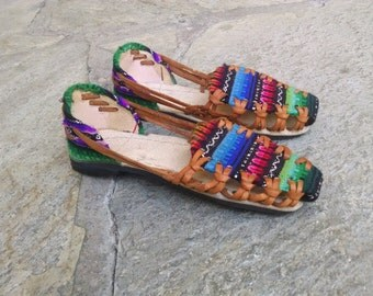Hippie Boho Flat Shoes Summer South American Fabric Leather