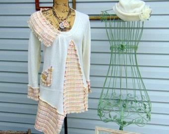 Strawberry Vanilla Smoothie Refashioned Upcycled Tunic Sweater SZ MEDIUM / LARGE Ivory Pink Yellow