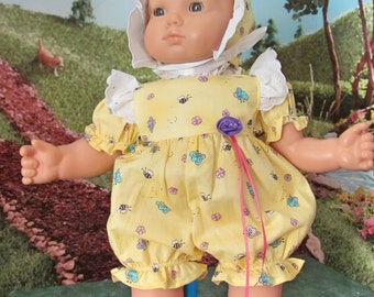 Doll Dress, 15 Inch Doll Clothes, Baby Romper, Doll Bonnet, Baby Doll Dress