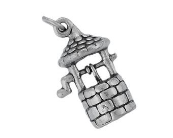 Sterling Silver Wishing Well Charm Pendant Good Luck Wish Garden 3D