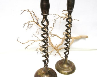 Vintage Brass Candlesticks / Twisted Metal Candle Holders / Brass Barley Twist Candleholders