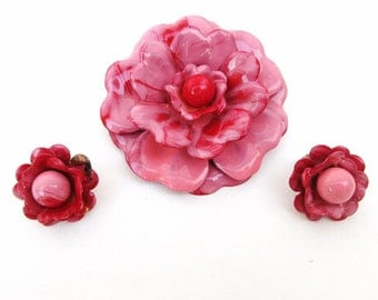 Retro Metal Brooch, Flower Brooch, Pink Flower Earrings, Enamel Pin Set, Corocraft Brooch