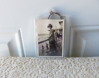 Vintage Photo Keychain - 1920's Day at the Beach, Swimsuit Attire, Collectible, Key Ring, Display, Cottage Chic, Summer Fun