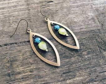 Rhinestone Teardrop Earrings // Rhinestone Earrings, Turquoise Blue Earrings, Brass Dangle Earrings, Boho Chic Earrings, Teardrop Earrings