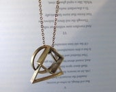 Convex - Brass Geometric Necklace with Triangle, Circle and Square Pendants on Short or Long Chain (Collier Géométrique) by InfinEight