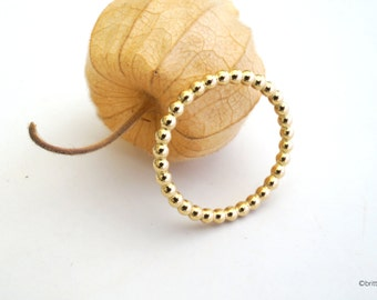 18 k yellow gold stacking ring // 2 mm beaded ring  // gifts for her // fine gold ring