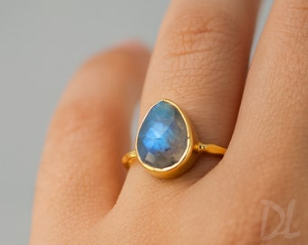 Labradorite Ring - Solitaire Ring - Stone Ring - Stacking Ring - Gold Ring - Tear Drop Ring - Gift For her