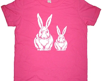 Kids TShirt - Bunny Rabbit Shirt - Boy or Girl - Spring Rabbit - Tee Shirt Top - 7 Colors - Kids Tshirt 2T, 4T, 6, 8, 10, 12