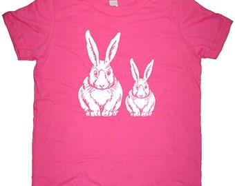 Kids TShirt - Bunny Rabbit Shirt - Boy or Girl - Spring Rabbit - Tee Shirt Top - 7 Colors - Kids Tshirt 2T, 4T, 6, 8, 10, 12