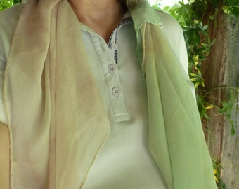 SALE Reduced Price - NATURAL DYED Chiffon Silk Square - Sun Dyed in sunshine with natural plants