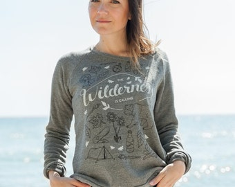 The Wilderness is Calling Vintage Grey Triblend Ladies Sweatshirt Adventure Camping Sweater