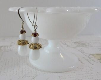Milk Glass Art Deco Earrings // Brass, White, Red, Wedding