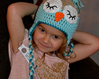 Crochet Owl Hat - Made to Order - Sizes from Newborn to Adult