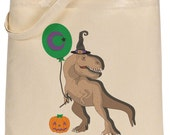 Trick or Treat Bag - Witch-saurus Rex Treat Bag - Reusable Halloween Cotton Canvas Tote - Funny T-Rex Halloween Book Bag - Halloween Party