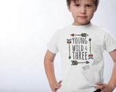 3rd Birthday Shirt - Young Wild and Three Birthday Shirt - Personalized Tshirts - Boho Young and Wild Birthday Party - Choose your number