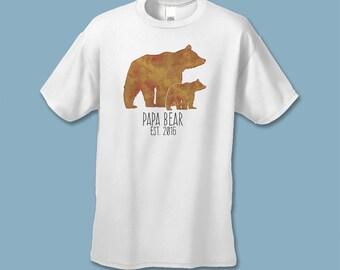 Papa Bear Shirt - Pregnancy Announcement Shirts - Dad Announcment T-shirt - Custom Baby Reveal - Family Photo Prop - Water color Brown Bear