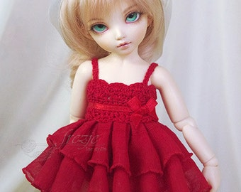 LAST ONE Red ruffle dress for TINY bjd LittleFee