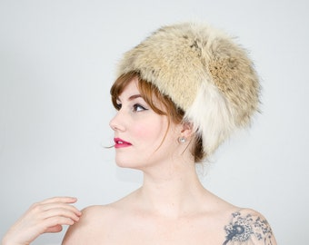1960s vintage hat / fox fur hat / Corsac Fox