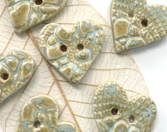 Ceramic buttons ~ 1 handmade heart shaped porcelain button, unique button fasteners, glazed button, sewing knitting supply craft supplies