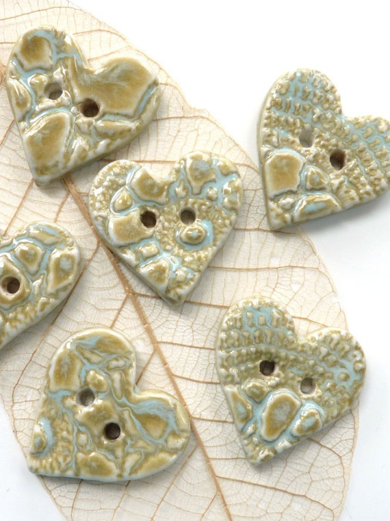 Ceramic buttons ~ 3 handmade heart shaped porcelain buttons, unique button fasteners, glazed button, sewing knitting supply craft supplies