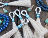 "Metallic Silver, Aqua, White Horse Hair Tassels, Handmade Western, Boho, Bohemian Jewelry Making Supply, Keychain, 4"" 1 Tassel"
