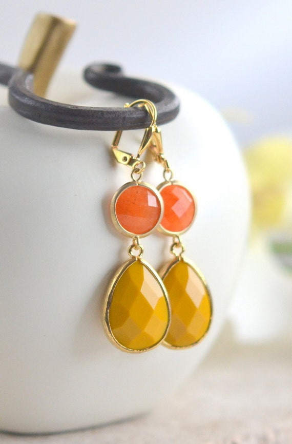 mustard yellow and orange stone dangle earrings in gold fall