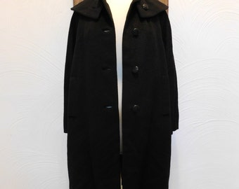 Black Swing Coat Vintage 1960s Wool Coat - L / XL