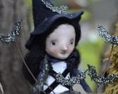 Bats Nest Pumpkin Halloween Witch Folk Art Paperclay