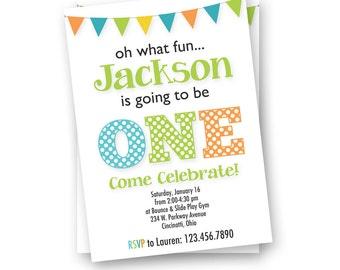 Birthday Invitation, First Birthday Invitation, Boy Birthday Invitation, modern invitation