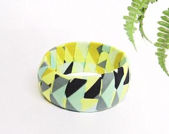 Geometric bangle with yellow mint grey marine recycled cotton