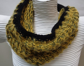 Mustard Loom Knit Cowl Scarf, Infinity Cowl Warmer, Loom Knitting Cowl, Endless Neckwarmer, Eternity Knitted Cowl Neck , Womens Cowl Scarf