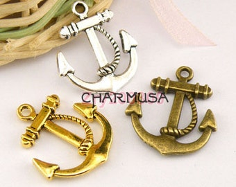10 Pieces Choose Your Antiqued Metal Anchor Charm Pendents 18mm destash collection