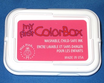 Hot Pink Childs Ink Pad My First Color Box Washable Childrens Ink Dark Pink Stamp Pad Nontoxic Ink Pad Childsafe Ink Kids Crafts