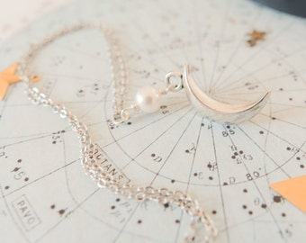Pearl Moon Necklace, Moon Pendant, Silver Moon Charm, Moon Jewellery, Moon Gift, Full Moon Charm