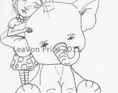 Friends (Elephant with girl) Digital Digi Stamp