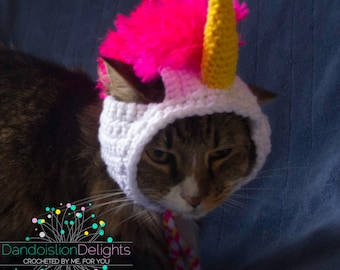 Crochet Unicorn Hat for your Pet, Ready to Ship Pink, White, and Gold, -- RTS for Cat, Small Dog, Kitten Costume, Knit Pet Accessories