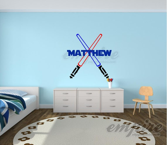 Star Wars Decal, Name decals, Light Sabers decal, Star Wars Name, boys decals , Jedi Name