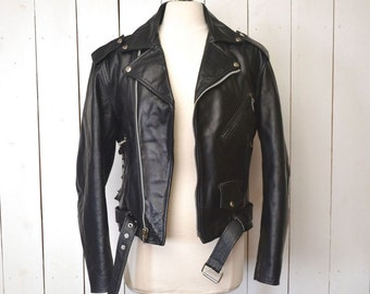 Black Leather Jacket - Ed Chigliak Leather Jacket - Early 90s Vintage Motorcycle Jacket - Punk Northern Exposure Style - Small S / Medium M