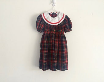 1980s girls plaid smocked puff sleeve edwardian victorian peter pan collar dress  with rosettes
