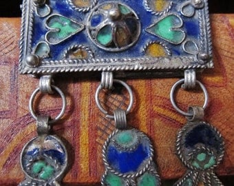 Enamel Amulet Box Pendant Moroccan Sahara with Leather Cord