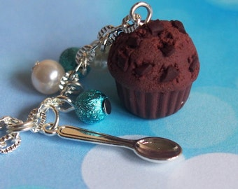 Chocolate Muffin Necklace (double chocolate mini food necklace silver necklace handmade necklace funky jewelry miniature muffin )