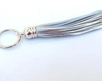 Silver Leather Tassel Keychain. Key Chain. Fringe Keychain. Purse Bag Charm. Silver Tassel. Tassel. Silver Keychain. Silver Key Chain.Gift