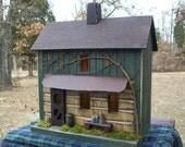 Primitive Birdhouse, Log Cabin, Primitive Farmhouse ~  Comes w/ light and cord ~  Very unique!