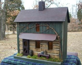 Primitive Birdhouse, Log Cabin, Primitive Farmhouse, Rustic Birdhouse, Home Decor, Farmhouse Decor, Rustic Decor, Birdhouses, Primitives