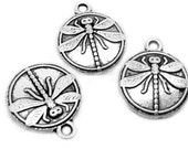 Charms : 10 Antique Silver Double-Sided Dragonfly Charms | Silver Ox Dragonfly Coin Pendants 15x18mm ... Lead & Nickel Free 65702.B24
