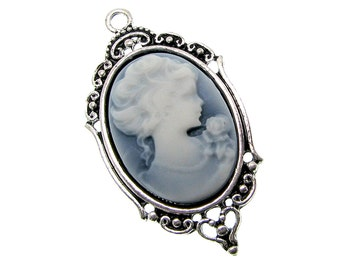 Cameo Pendant : 1 Antique Silver Oval Cabochon Setting with Marbled Grey Victorian Lady Silhouette Cameo -- 6633.B23