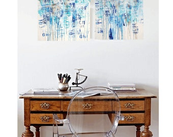 blue and white gold painting  abstract  painting      Jolina Anthony