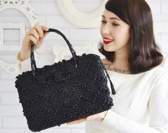 Vintage Black Raffia Handbag with Black Plastic Handles and a Red Flower Lining by Ritter