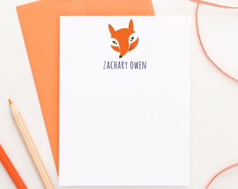 Personalized Fox stationary for kids, Forest Animals Baby shower thank you card, Personalized stationery for girls, Animal stationary, KS055